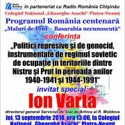 """""""Politici represive și de genocid în teritoriile dintre Nistru și Prut"""", la Biblioteca Județeană"""