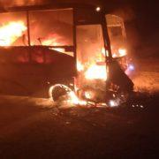 Neamţ: autobuz în flăcări la Timişeşti