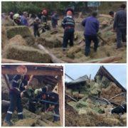 Un om şi 20 de vite, surprinşi de prăbuşirea unui adăpost de vite la Petricani